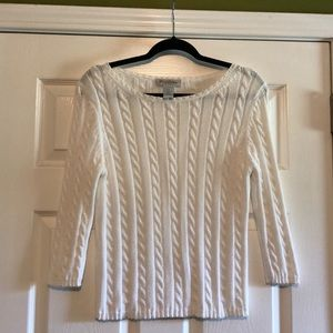 Brooks Brothers White Cable Knit Sweater - Medium